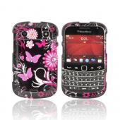 Blackberry Bold 9900, 9930 Rubberized Hard Case w/ Bling - Pink Butterflies & Flowers on Black