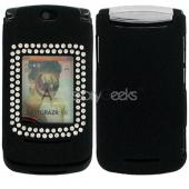 Motorola V8 Rubberized Protective Hard Case w/ Gems - Black