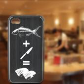 Apple iPhone 4/4S Rubberized Hard Case w/ Black Aluminum Back - Fish Bait