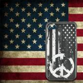 Apple iPhone 4/4S Rubberized Hard Case w/ Black Aluminum Back - Grunge Flag