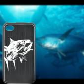 Apple iPhone 4/4S Rubberized Hard Case w/ Black Aluminum Back - Fish Hook