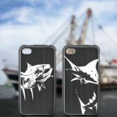 Apple iPhone 4/4S Rubberized Hard Case w/ Black Aluminum Back - Tuna