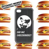 Apple iPhone 4/4S Rubberized Hard Case w/ Red Aluminum Back - I Can Haz Cheezburgerz?