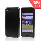 Black Rubberized Hard Case w/ Aluminum Back for Apple iPhone 4/4S - XXIP4