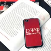 Alpha Phi Omega AT&T/ Verizon Apple iPhone 4, iPhone 4S Rubberized Hard Case w/ Hot Pink Aluminum Back & 3 Pack Universal Screen Protectors