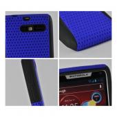 Blue Mesh on Black Rubberized Hard Case on Silicone for Motorola Droid RAZR M
