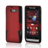 Red Mesh on Black Rubberized Hard Case on Silicone for Motorola Droid RAZR M
