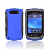 Blackberry Torch 9800 Hard Back Over Crystal Silicone Case - Black/Blue (BACK COVER ONLY)