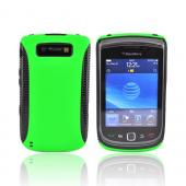 Blackberry Torch 9800 Hard Back Over Crystal Silicone Case - Black/Neon Green (BACK COVER ONLY)