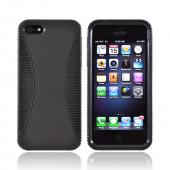 Apple iPhone 5/5S Hard Back Over Crystal Silicone Case - Black