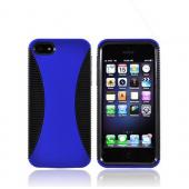 Apple iPhone 5/5S Hard Back Over Crystal Silicone Case - Blue/ Black