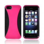 Apple iPhone 5/5S Hard Back Over Crystal Silicone Case - Hot Pink/ Black