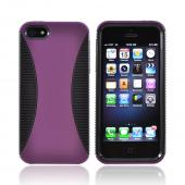Apple iPhone 5/5S Hard Back Over Crystal Silicone Case - Purple/ Black