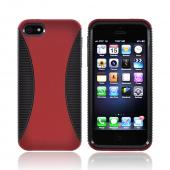 Apple iPhone 5/5S Hard Back Over Crystal Silicone Case - Red/ Black