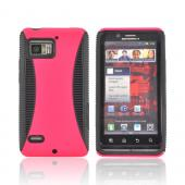Motorola Droid Bionic XT875 Rubberized Hard Back Over Crystal Silicone - Hot Pink/ Black