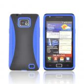 AT&T Samsung Galaxy S2 Rubberized Hard Back Over Crystal Silicone Case - Black/ Blue