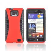 AT&T Samsung Galaxy S2 Rubberized Hard Back Over Crystal Silicone Case - Red/ Black