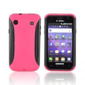 Samsung Vibrant/Galaxy S 4G Hard Back Over Crystal Silicone Case - Black/Hot Pink
