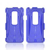 HTC EVO 3D Hard Case w/ Perforated Textured Back - Blue