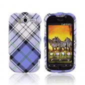 T-Mobile MyTouch 4G Textured Hard Case - Checkered Pattern of White/Blue