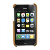 Apple iPhone 3GS 3G Texturized Hard Case w/ Chrome Stand - Brown/Chrome