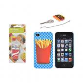 AT&T/ Verizon Apple iPhone 4, iPhone 4S French Fries Fast Food Bundle w/ DCI Universal Hamburger, French Fries & Drink Earbud Headset (3.5mm) & Cord Wrapper, French Fries Key Topper & French Fries on Blue Checkers Rubberized Hard Case