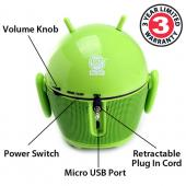 GOgroove Pal Bot Portable Rechargeable Stereo Speaker (3.5mm), GG-PAL-BOT - Green/ Black