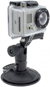 Arkon Black GoPro Mount - Modular Pedestal with Sticky Suction Base and GoPro Lateral Connector Head