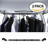 "RED SHIELD Automotive Clothes Hanger Bar. Hook to Hang, Portable, Expandable (39"" to 67"") Heavy Duty Clothing Organizer Rod, Rack. Universal for Any Vehicle, Car, Truck, SUV, Van. Space Saver. [2 PK]"