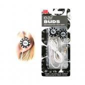 Universal Volume Knob Ear Bud Headset (3.5mm) - Black Volume Knob on White