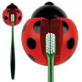 Kikkerland Red/ Black Ladybug Toothbrush Holder - Keeps Germs off Your Toothbrush & Suctions to the Mirror!