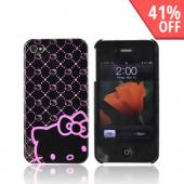 Original Hello Kitty AT&T/ Verizon iPhone 4 Hard Back Cover Case w/ Screen Protector, HKT4488NK4 - Pink/Black