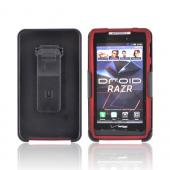 Motorola Droid RAZR Rubberized Case w/ Screen Protector & Holster Stand Combo - Red/ Black