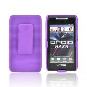 Motorola Droid RAZR/ RAZR MAXX Rubberized Hard Case w/ Holster Stand - Purple