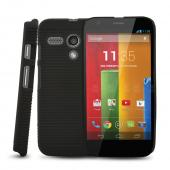Black Rubberized Hard Case & Holster Combo w/ Kickstand & Swivel Belt Clip for Motorola Moto G
