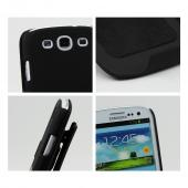 Samsung Galaxy S3 Rubberized Hard Case Stand w/ Holster & Swivel Belt Clip - Black