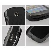 Black Rubberized Hard Case & Holster Stand w/ Swivel Belt Clip for Samsung Galaxy Stellar