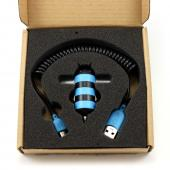 HoneyDru Blue/ Black Honeybee Striped Car Charger (2A) w/ USB Port & Micro USB Cable - Wings Light Up!