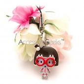 Geeky Girl w/ Red Glasses Cell Phone Charm/ Strap