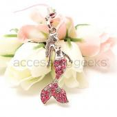 Mermaid Girl with Pink Fins cell phone charm