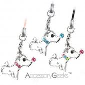 Cute Puppy w/ Cubic Stone Nose & Necklace Charm - blue