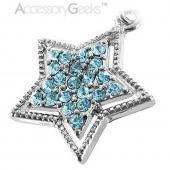 Sparkling Star with Border Cubic stone charm/strap - blue
