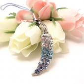Sparkling Horn Cubic Stone Cell Phone Charm , Strap - Blue & Clear