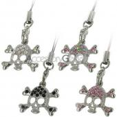 Silver Skull Face w/ Cubic Stones Charms/Straps - clear
