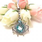Heart Shaped Spider Cubic Stone Cell Phone Charm / Strap - Baby Blue