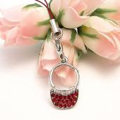 Sparkling Sun Visor Cubic Stone Cell Phone Charm / Strap - Red