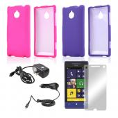 Essential Girly Bundle Package w/ Hot Pink & Purple Rubberized Hard Case, Mirror Screen Protector, Car & Travel Charger for HTC 8XT