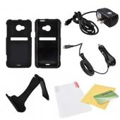 HTC EVO 4G LTE Essential Bundle Package w/ Black Rubberized Hard Case, Screen Protector, Portable Stand, Car & Travel Charger