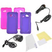 HTC Droid Incredible 4G LTE Essential Girly Bundle Package w/ Hot Pink & Purple Rubberized Hard Case, Mirror Screen Protector, Car & Travel Charger