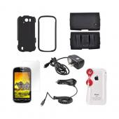 HTC MyTouch 4G Slide Essential Bundle Package w/ Black Rubberized Hard Case, Screen Protector, Leather Pouch, Car & Travel Charger, & Jelly Lens